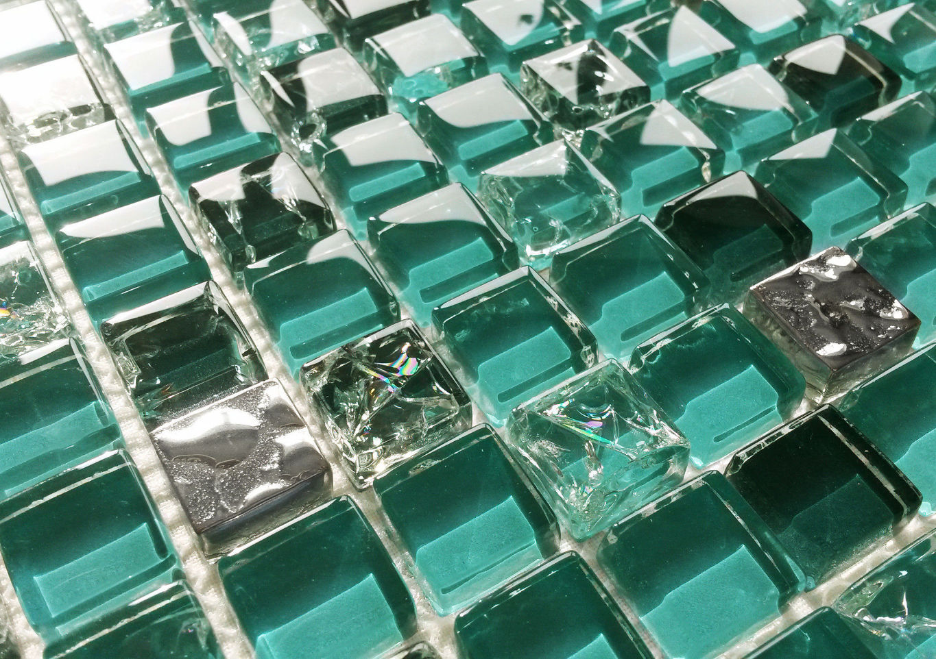 Teal Turquoise Green & Silver Crackle Glass Square Mosaic Tiles 8mm
