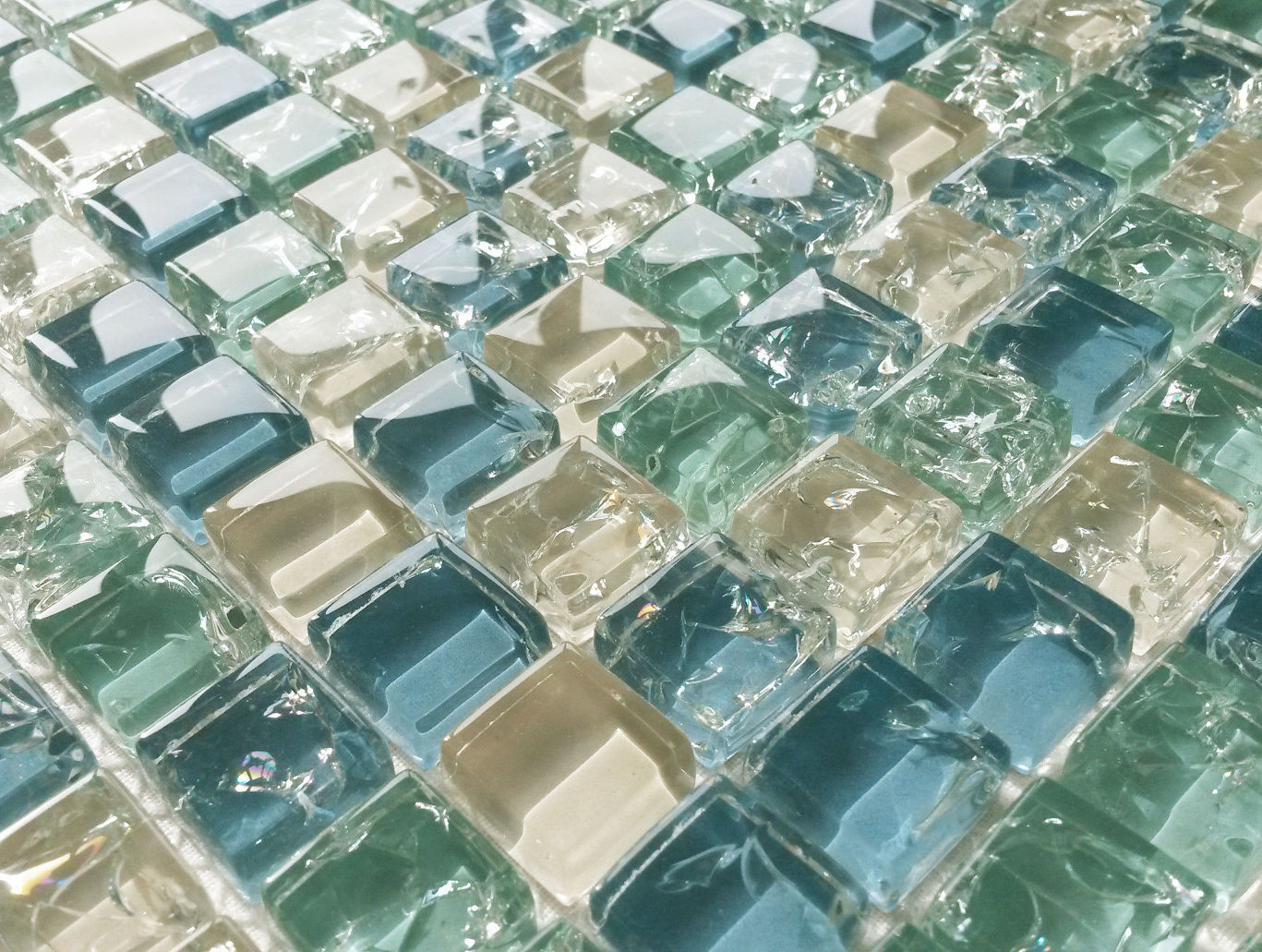 Blue Green White Crackle Glass Small Squares Mosaic Wall Tiles 8mm