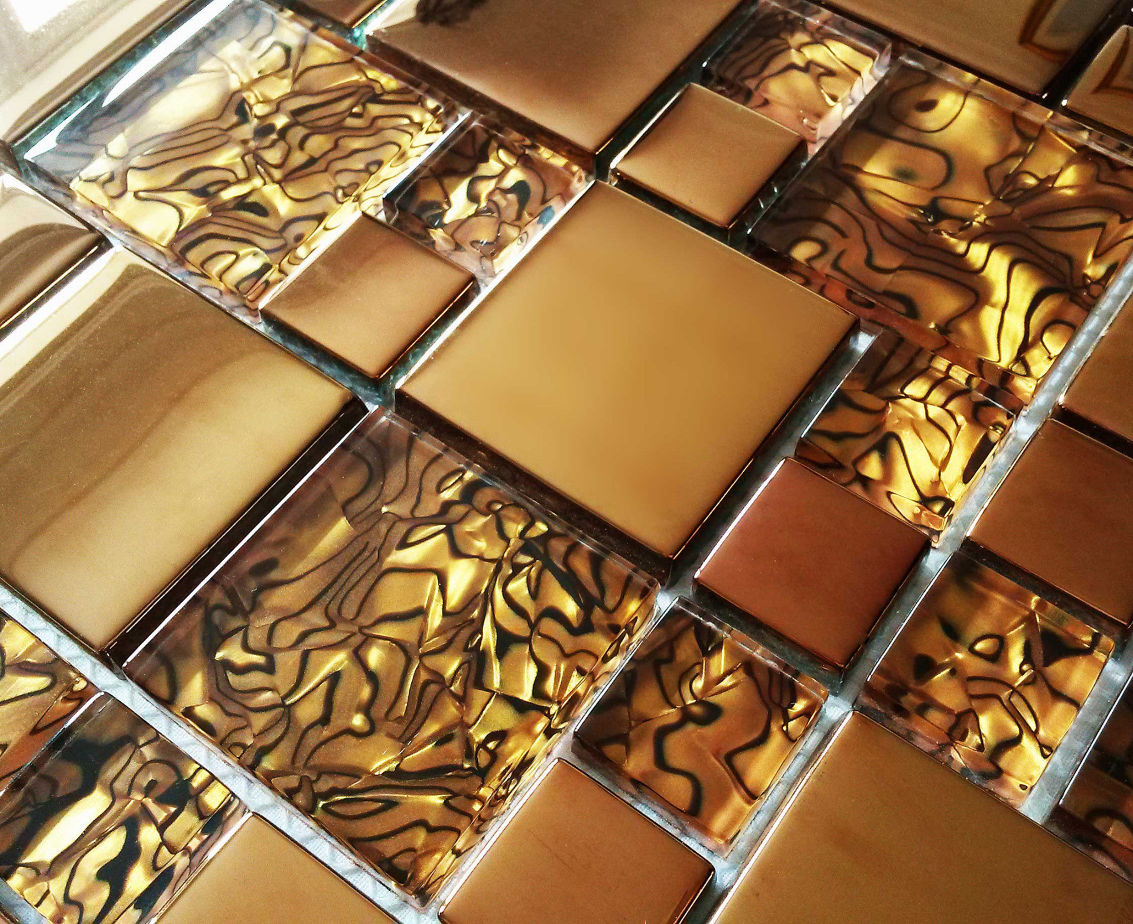 Luxury Copper Gold Metallic Glass Mosaic Wall Tiles 8mm Thick