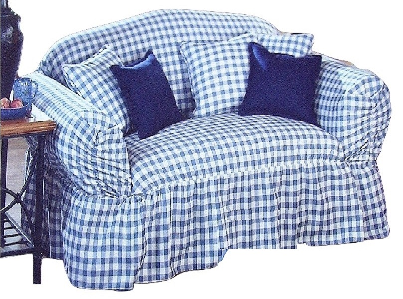 Sure Fit Sofa Slipcover Blue Check Ruffle Skirt Box Or T