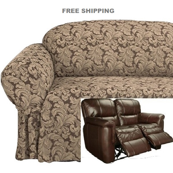 Dual Reclining Loveseat Slipcover Damask Chocolate Brown