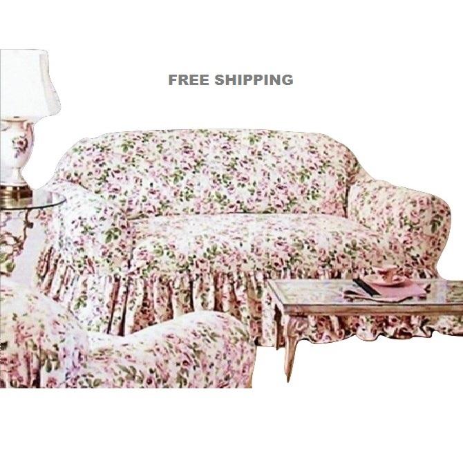 Rachel Ashwell Loveseat Slipcover Rosalie Pink Floral Shabby Chic