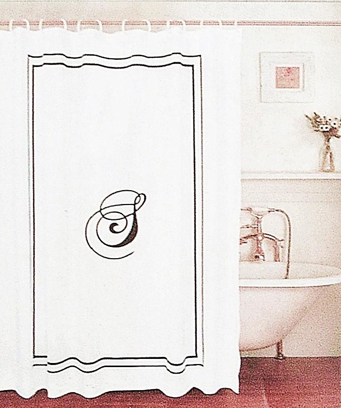 Curtain Black Monogram Letter S White Fabric Black Border