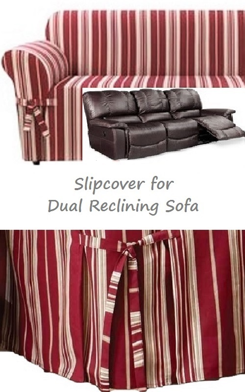 Dual Reclining Sofa Slipcover City Stripe Burgundy Red Sure Fit Couch