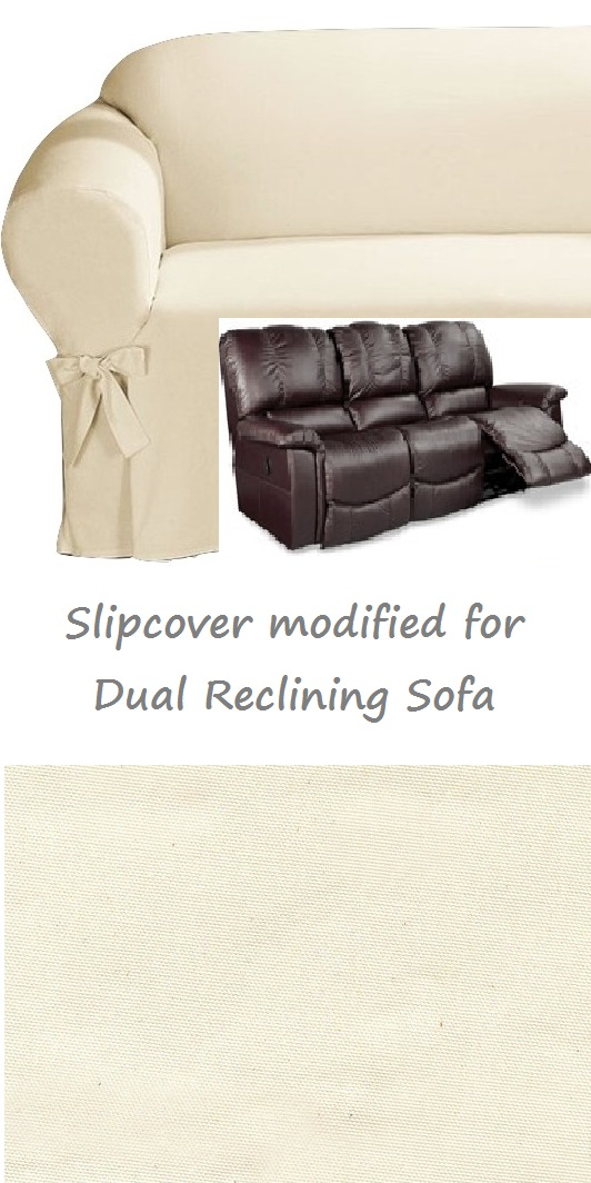Good Dual Reclining SOFA Slipcover Cotton Cream Sure Fit Recliner Couch