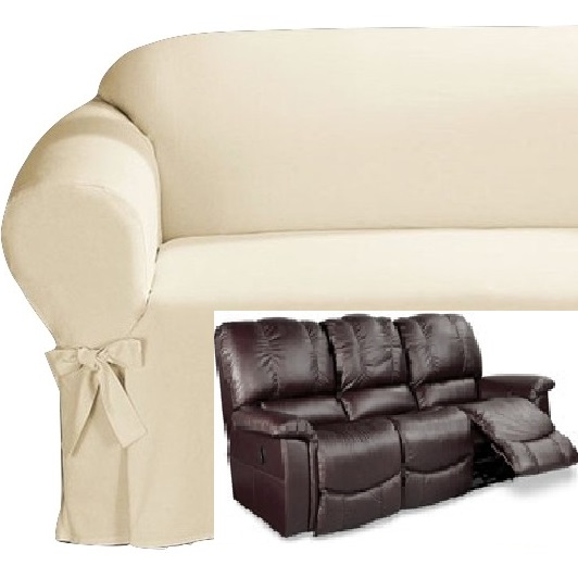 Dual Reclining Sofa Slipcover Cotton Cream Sure Fit