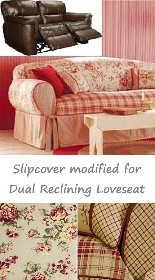 dual reclining loveseat slipcover shabby toile red sure fit cover. Black Bedroom Furniture Sets. Home Design Ideas