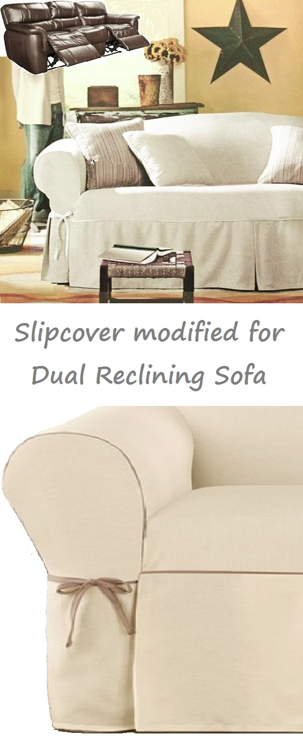 Dual Reclining Sofa Slipcover Cream Contrast Taupe Surefit