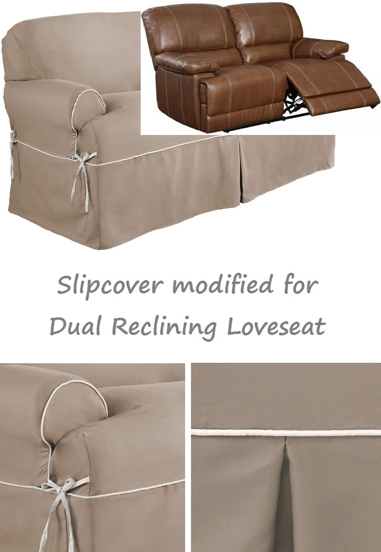 Dual Reclining Loveseat Slipcover T Cushion Twill Contrast