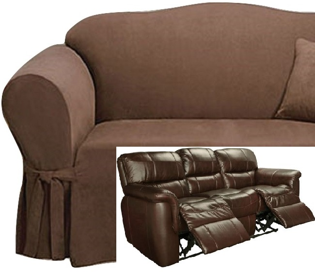 Dual Reclining Sofa Slipcover Suede Chocolate Sure Fit Recliner Couch