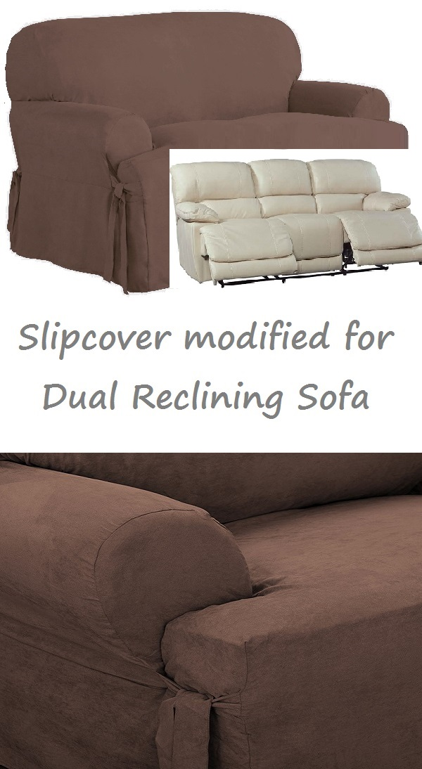 Dual Reclining SOFA Slipcover T Cushion Suede Chocolate Sure Fit Couch