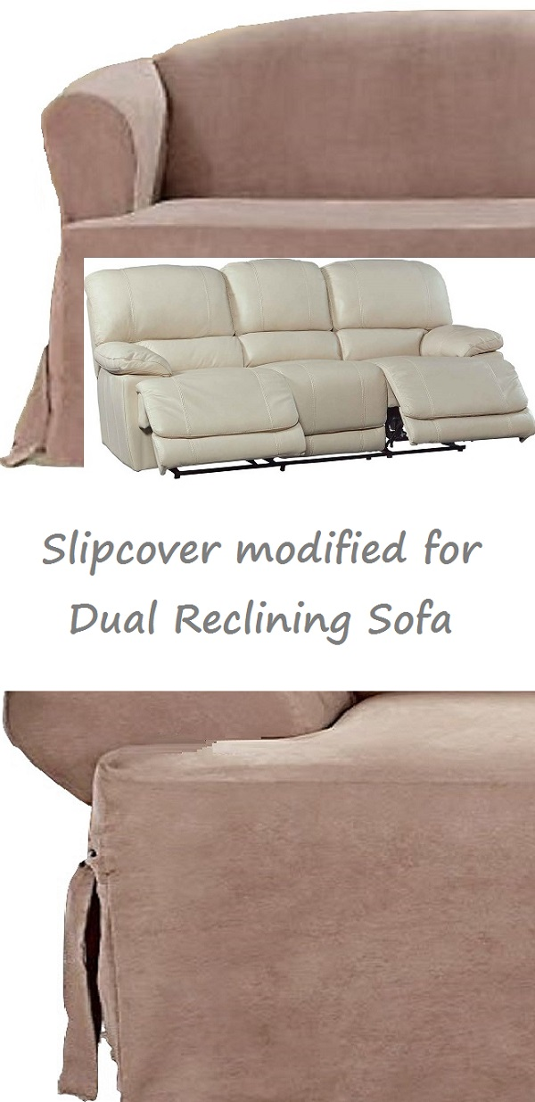 Dual Reclining SOFA Slipcover T Cushion Suede Taupe Sure Fit Couch