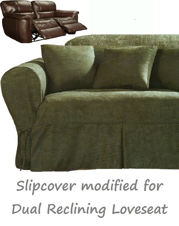 dual reclining loveseat slipcover heavy suede forest green sure fit