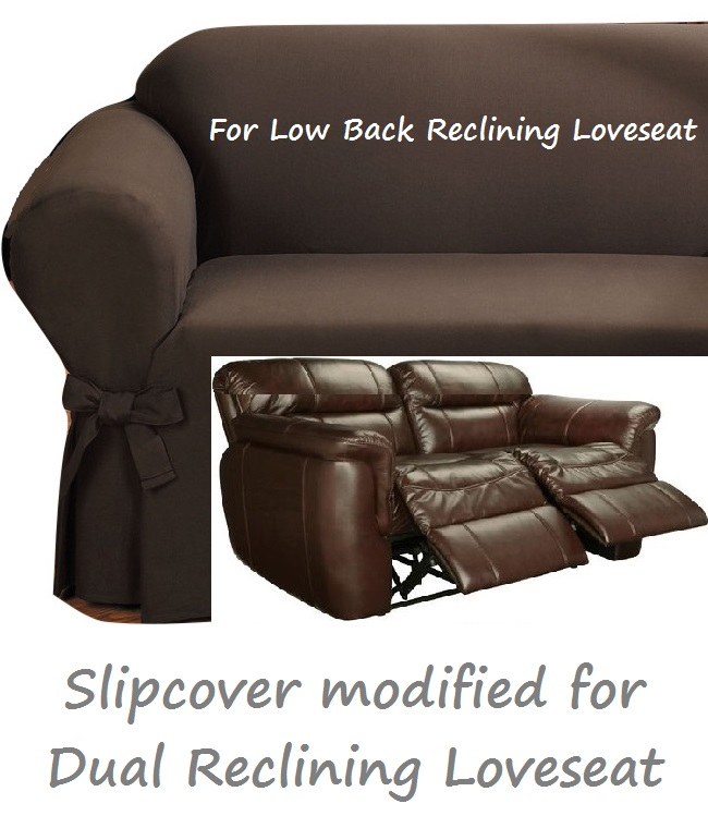 Dual Reclining Loveseat Slipcover Ribbed Texture Chocolate
