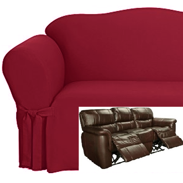 Dual Reclining SOFA Slipcover Cotton Burgundy Sure Fit Recliner Couch