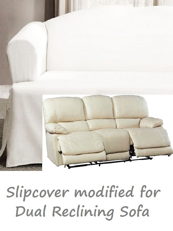 Dual Reclining SOFA Slipcover T Cushion White Cotton Sure Fit Couch