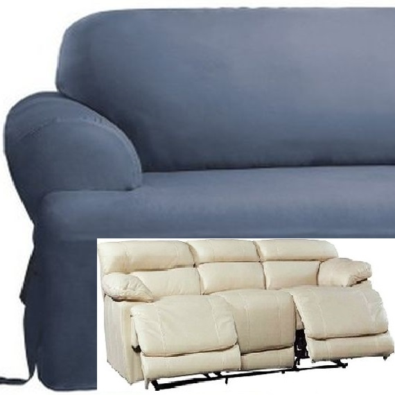 Dual Reclining Sofa Slipcover T Cushion Cotton Blue Sure Fit Couch