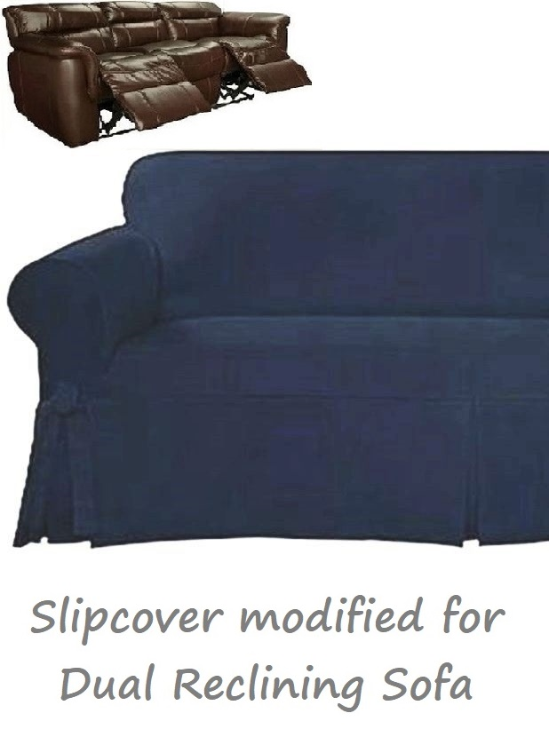 Dual Reclining Sofa Slipcover Farmhouse Twill Navy Blue Sure Fit Couch