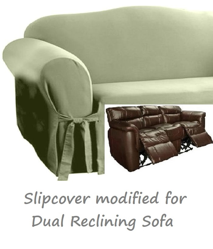 Dual Reclining Sofa Slipcover Cotton Sage Green Sure Fit Recliner Couch