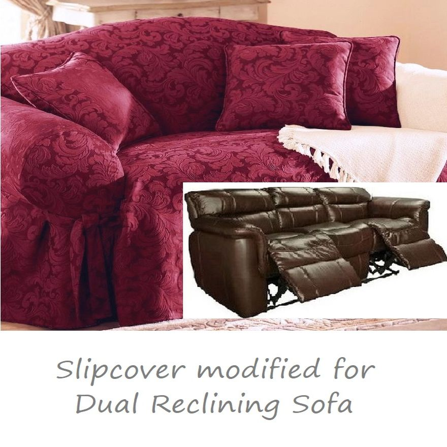 Dual Reclining SOFA Slipcover Damask Burgundy Sure Fit Recliner Couch