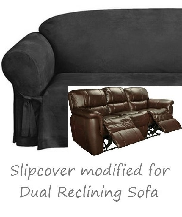 Reclining Sofa Slipcover Black Suede 3 Seater Dual Recliner Couch Cover