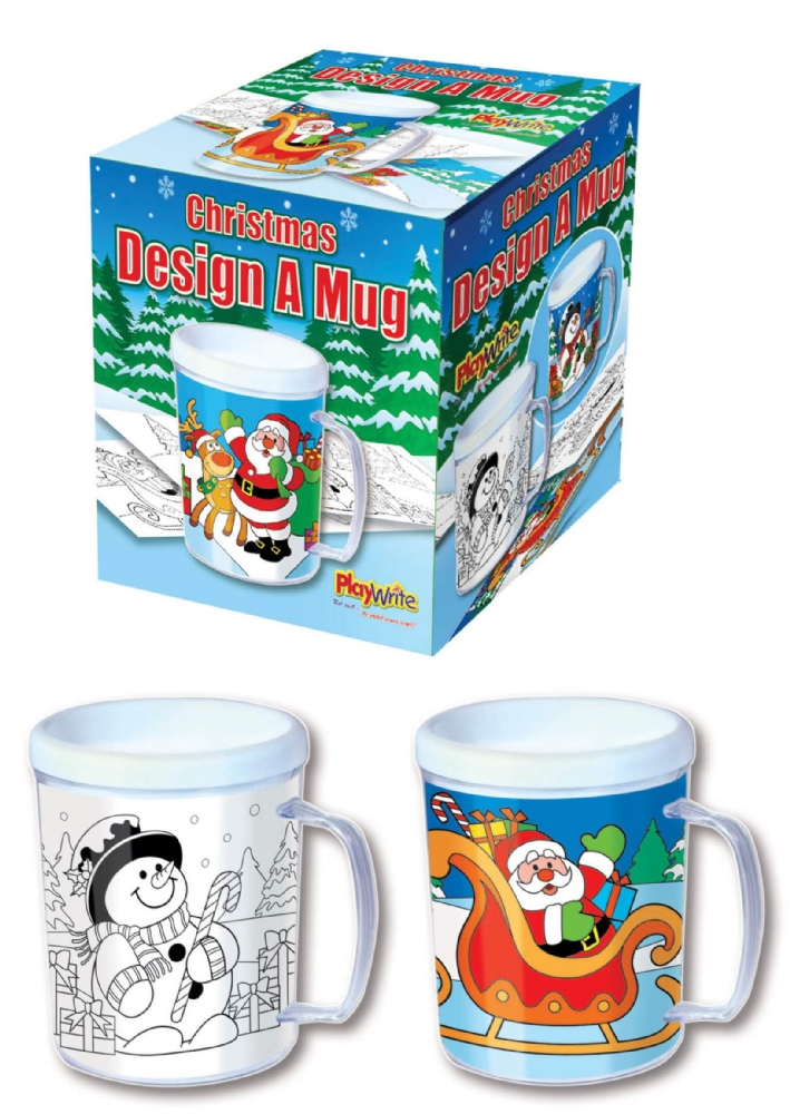 12 x colour in christmas mugs - Cheap Christmas Mugs
