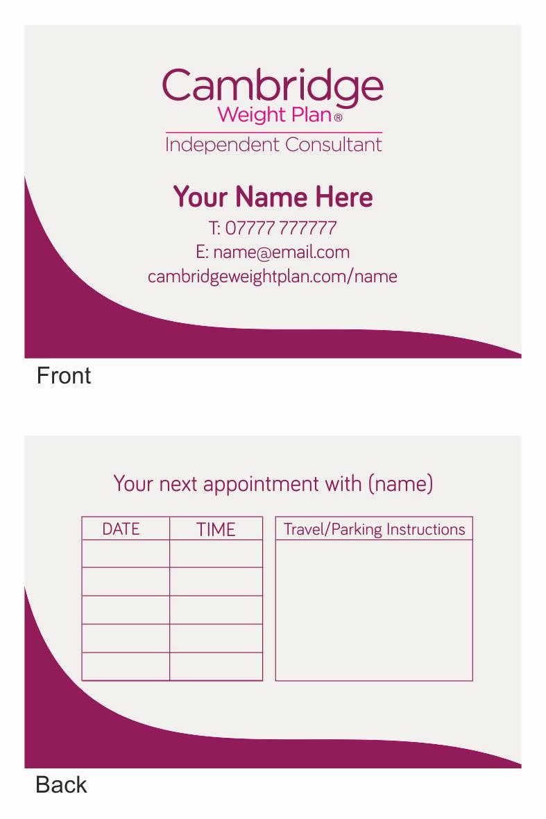 Cambridge weight plan business card design two business card design 2 colourmoves