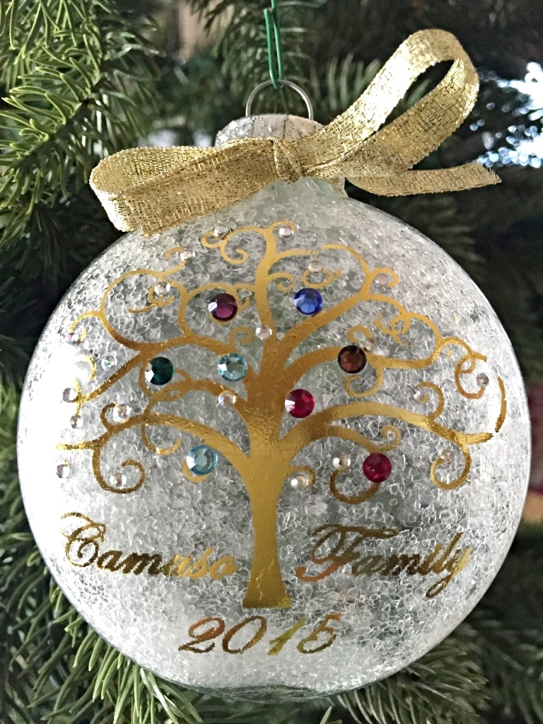 personalized family christmas ornament with genuiine swarovski birthstone crystals