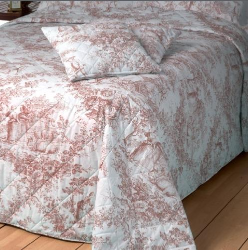 toile de jouy super king bedspread quilt pink percale bedspread toile ...
