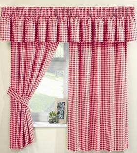 Curtains 66 x 54 incl pelmet tie backs farmhouse gingham red curtains