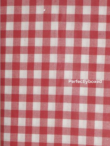red gingham curtains at