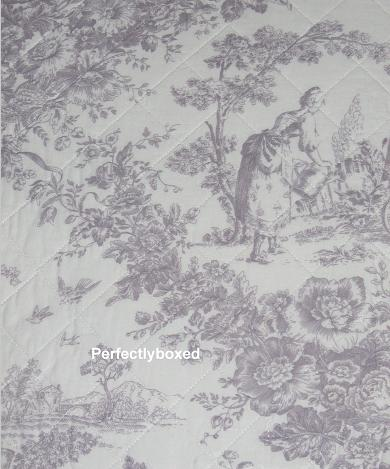 lilac toile de jouy king bedspread. Black Bedroom Furniture Sets. Home Design Ideas