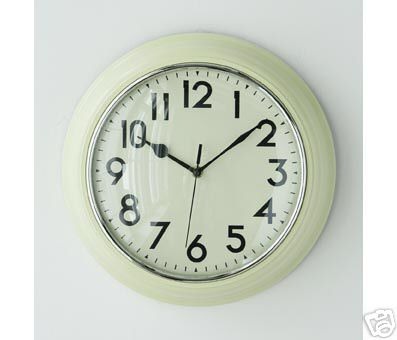 Retro Wall Clock Large Cream Kitchen Living Room