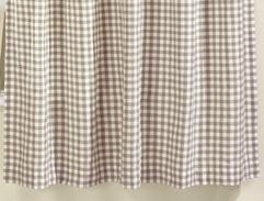 Gingham Natural Curtains 66x54 + Pelmet + Tie Back