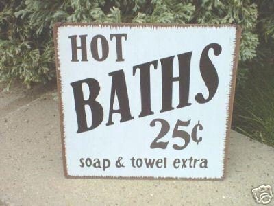 Bathroom Signs Metal metal sign hot baths retro bathroom