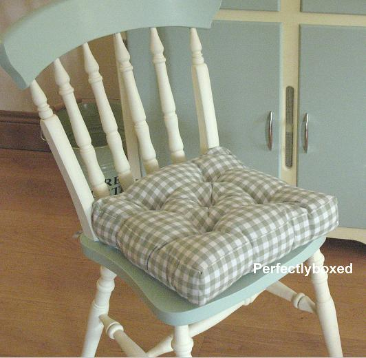 green gingham seat pads at. Black Bedroom Furniture Sets. Home Design Ideas