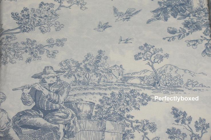 blue toile de jouy double duvet. Black Bedroom Furniture Sets. Home Design Ideas