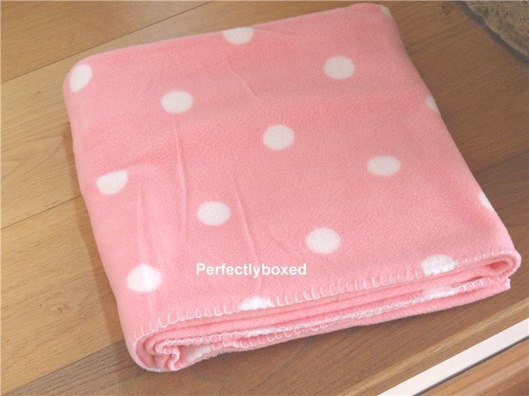 Pink Polka Dot Fleece Throw