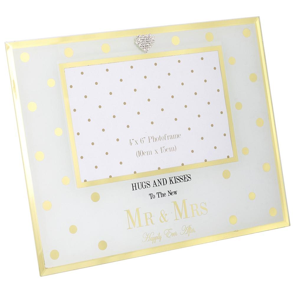 Gold Dots Mr & Mrs Wedding Photo Frame