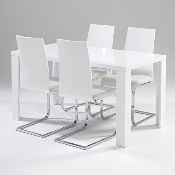 Dining Set White Gloss Table + 6 Chair