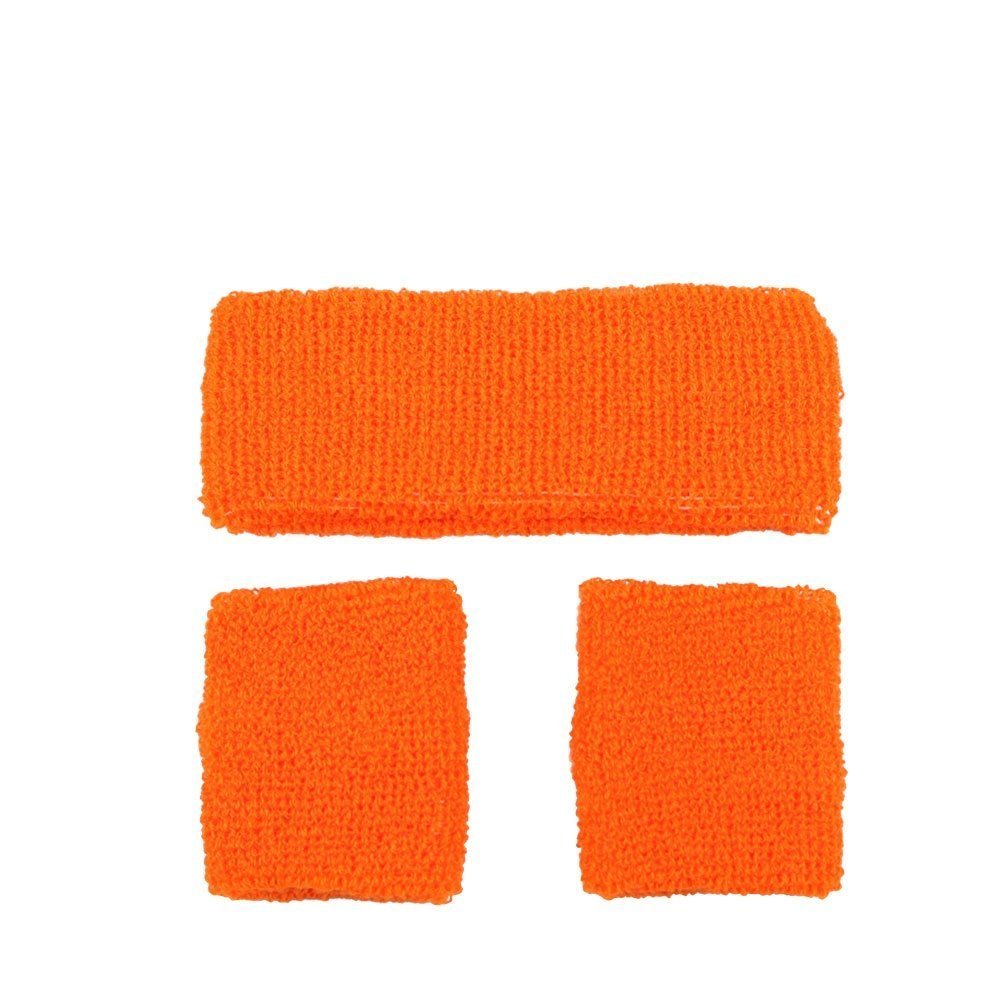 80s Neon Orange Sweatband Set Title