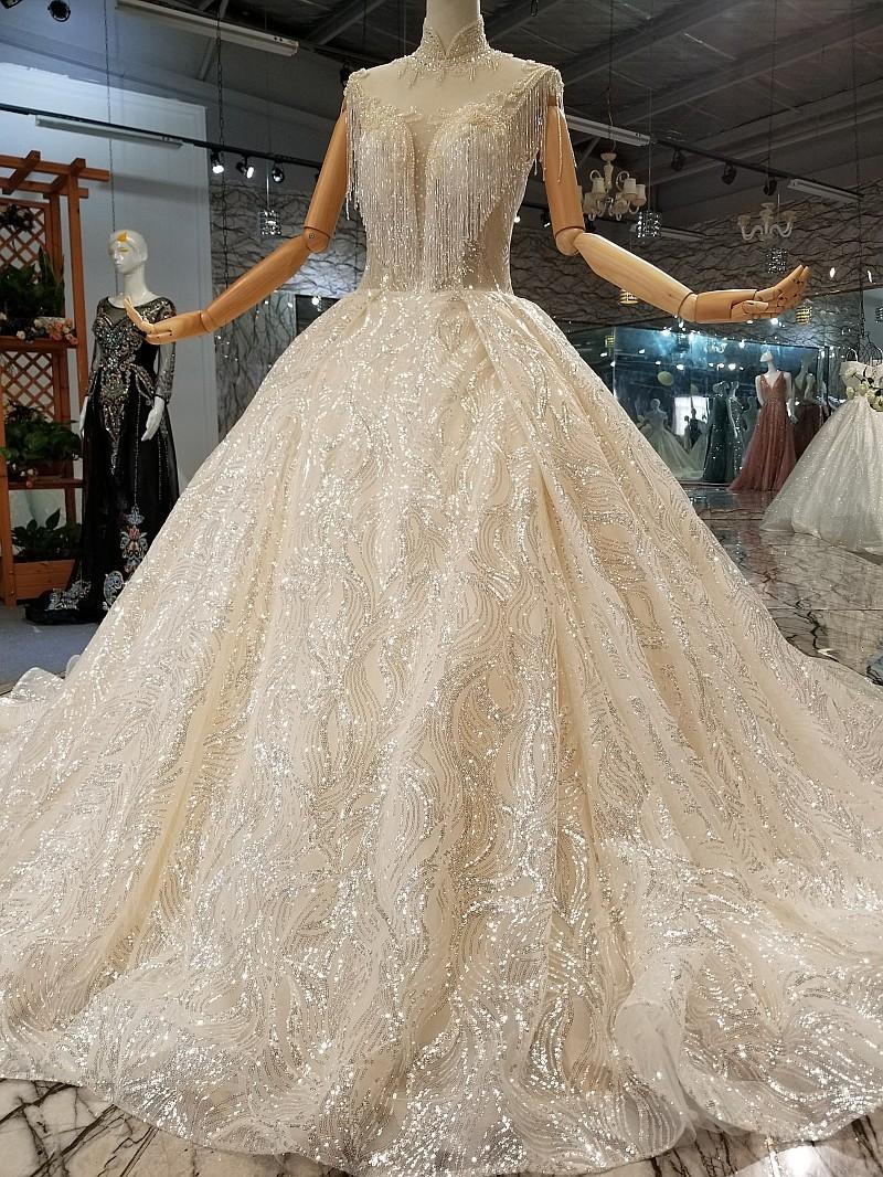 wedding dress high neck princess keyhole back wedding dress with ...