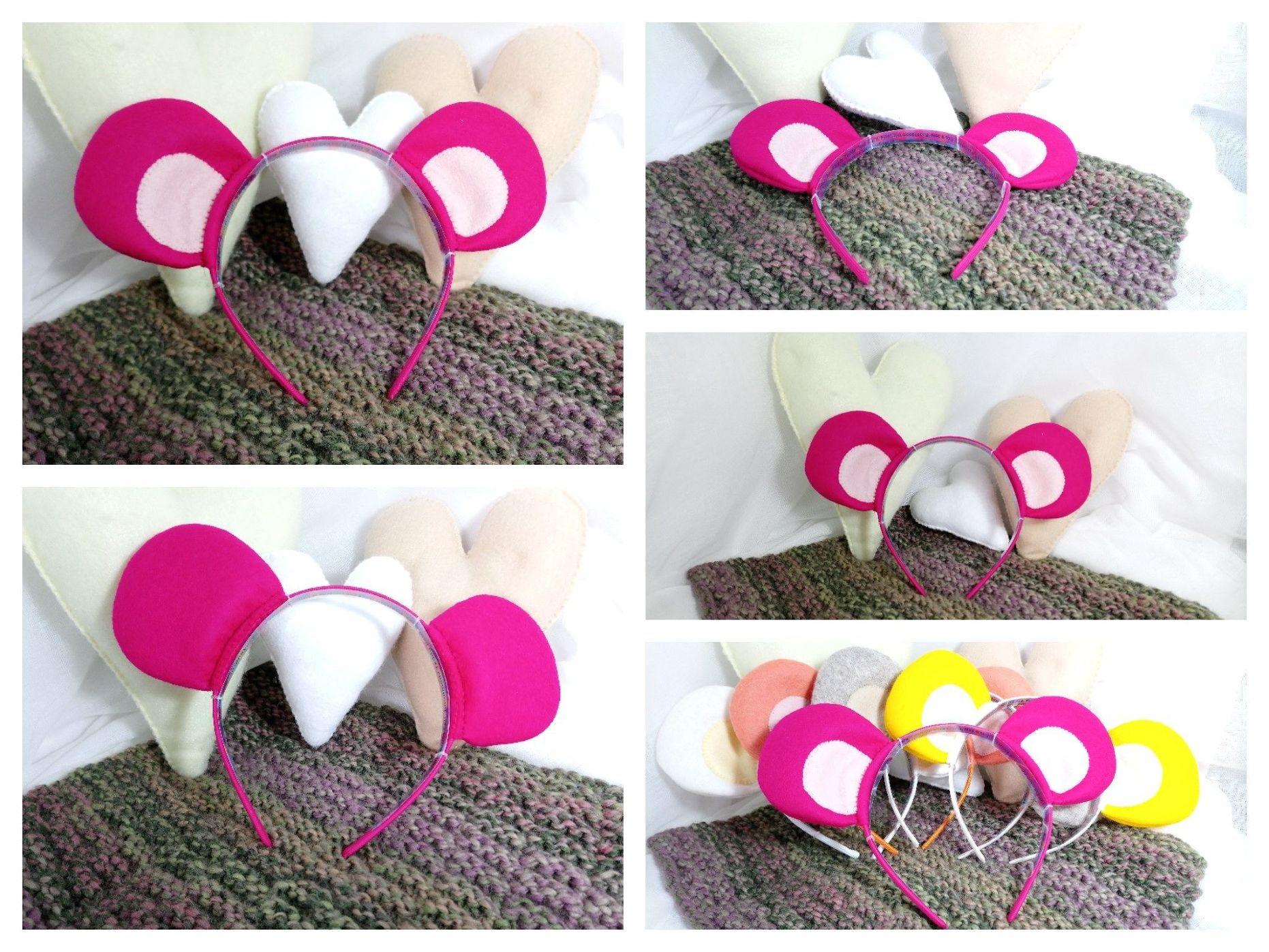 Pink 100 Wool Felt Teddy Bear Ears Pink Headband Handmade Bear
