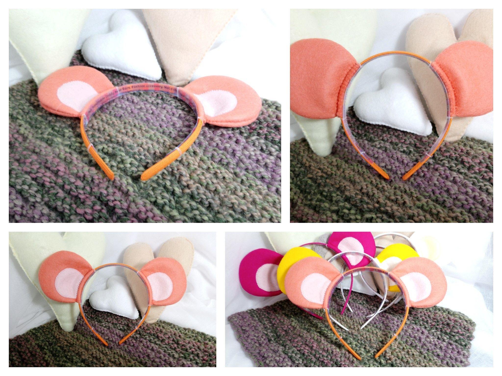 Coralorange 100 Wool Felt Teddy Bear Ears Headband Handmade Bear