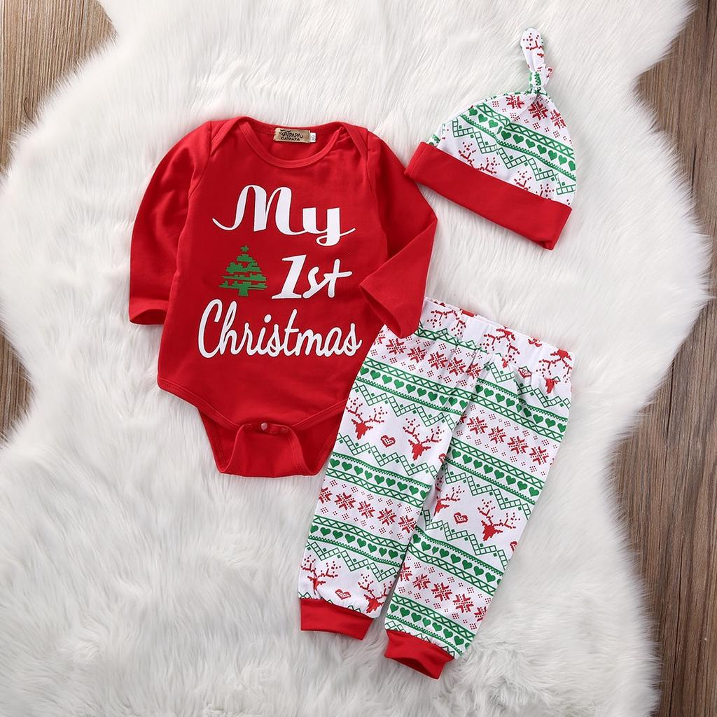 Newborn Baby Boys Girls First Christmas Clothes Romper Pants Hat ...