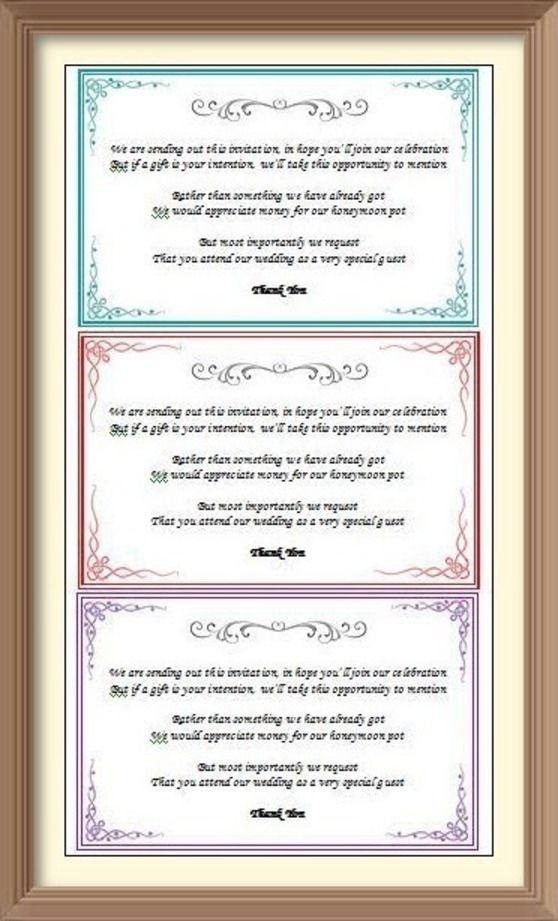 Wedding Gift Request Poem : Wedding Gift Money request Poem Cards