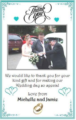 Wedding Gift Thank You Cards Uk : Personalised Wedding Gift Thank you Cards