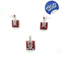 Coral Sterling Silver Set