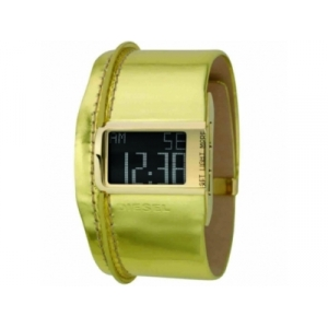 Diesel DZ7104 Mens Gold Leather Strap Digital Watch