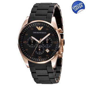 Emporio Armani AR5905 - Mens Chrono Black Rose Gold Watch